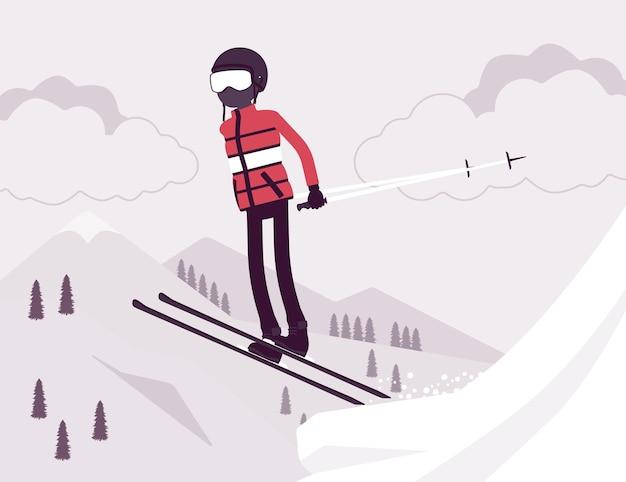 アクティブなスポーティな男スキー、ジャンプ
