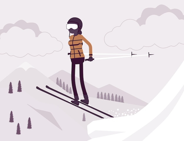 アクティブなスポーティな女性のスキー、ジャンプ