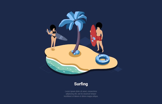 Active summer sport concept illustration in cartoon 3d style isometric. composition of two people with surfing boards at beach