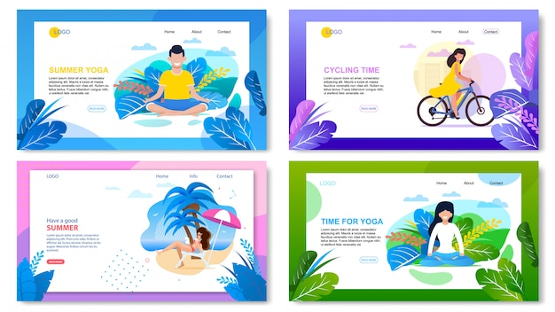 Active summer vacation advertising landing page set