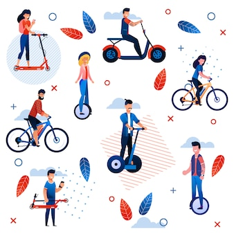 Active summer vacation flat seamless pattern. cartoon people characters riding bicycles, scooter