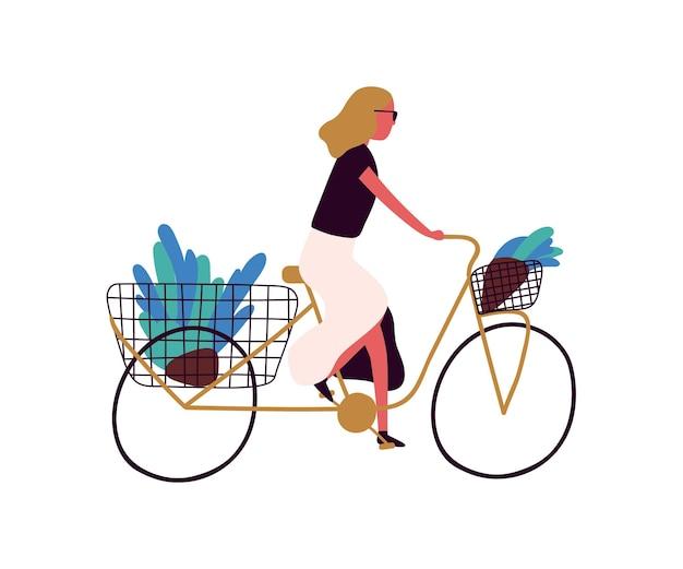 バスケットベクトルフラットイラストで花と自転車に乗るアクティブな流行の女性。白い背景で隔離の花束とレトロな自転車のスタイリッシュな女性。漫画のエレガントな女の子の自転車。