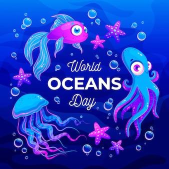 활동적인 수중 생물 세계 바다의 날