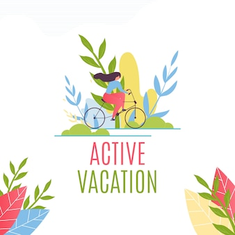 Active vacation lettering. motivate flat banner