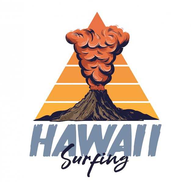 Active volcano with fire hot lava thick red smoke on mountain. hawaii island surfing style illustration