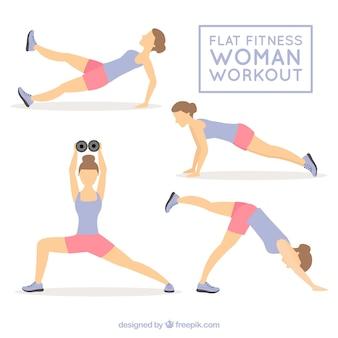 彼女の体を延伸するアクティブな女性