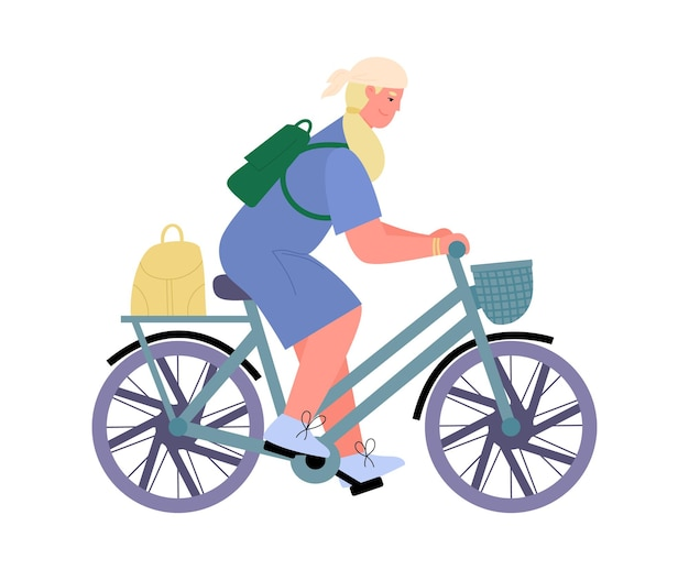 Active woman traveling on bicycle flat cartoon vector illustration isolated
