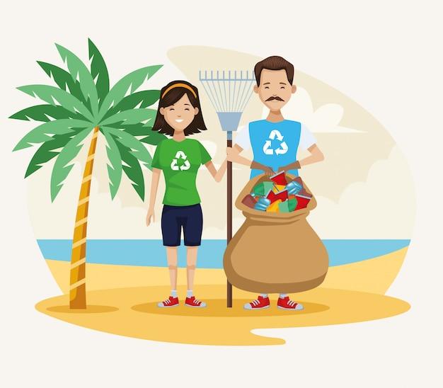 ビーチのシーンを掃除する活動家のカップル