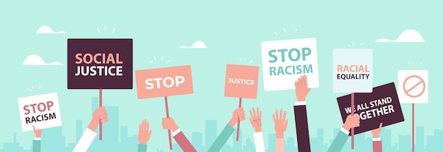 Activists holding stop racism posters racial equality social justice stop discrimination