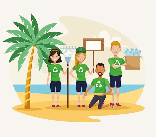 ビーチのシーンを掃除する活動家の人々