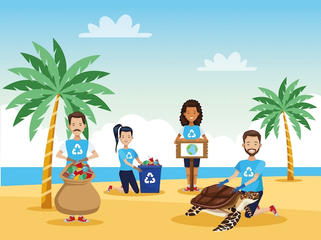 Активисты чистят пляж от морской черепахи
