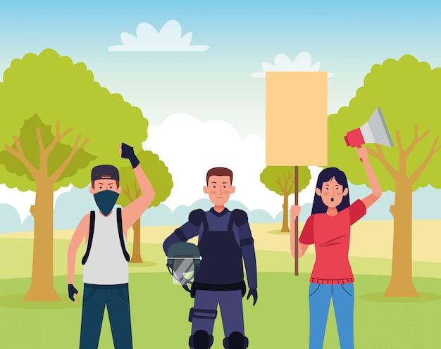機動隊に抗議する活動家の人々