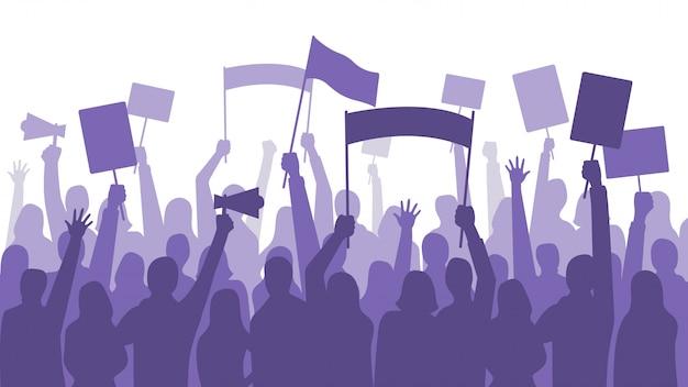 活動家は抗議します。政治暴動サインバナー、抗議プラカードと症状バナーを持っている人
