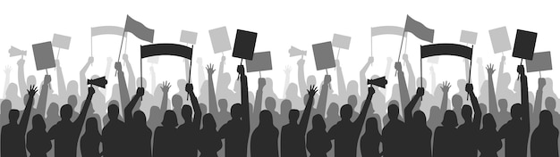 活動家はシームレスな国境に抗議します。ストライクグループのデモンストレーション、デモンストレーターの立ち止まり、平等の表明。ベクトルイラスト
