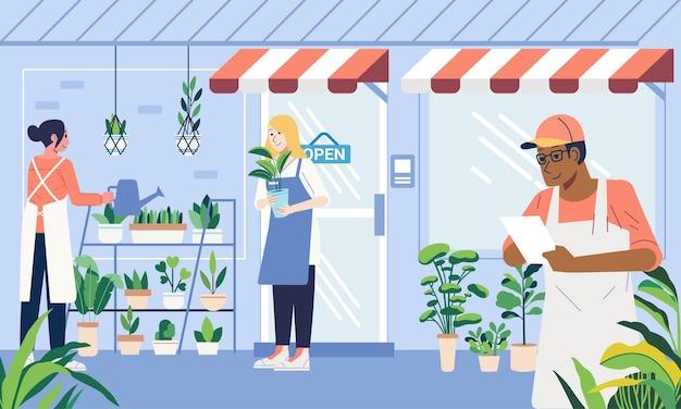 鉢植えを動かす植物に水をやる注文を受ける植物店の店主の活動