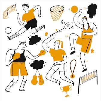 Activities of people who are playing various sports