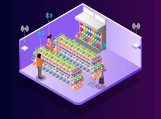 Activities at retail store with bluetooth technology, isometric illustration