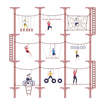 Activity children in extreme adventure rope park with climbing equipment in childhood cartoon climb  illustration.