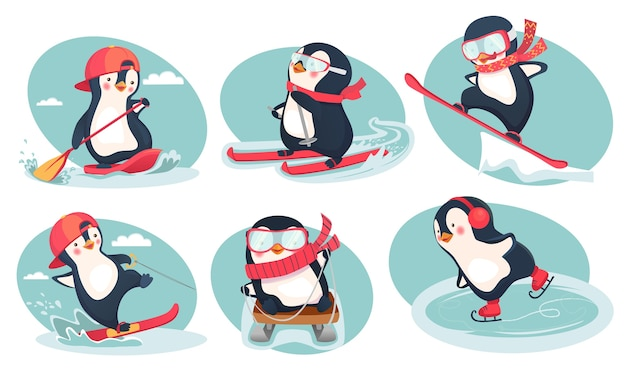 Активность зимой. набор иллюстраций пингвина