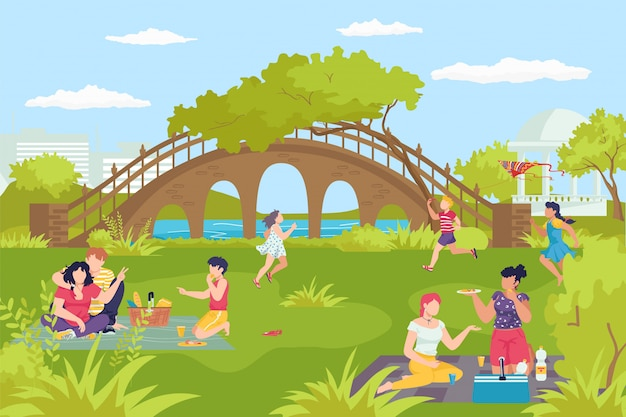 Activity leisure at park river, happy family people walk at nature  illustration. outdoor summer lifestyle, healthy green grass for young person.  man woman together at cityscape.
