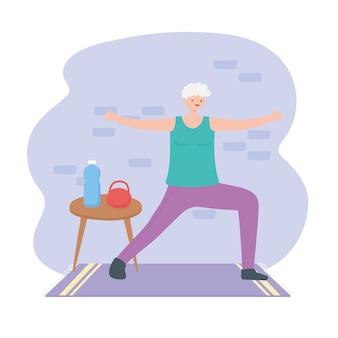 활동 노인, 운동복, 물병 및 방 그림에 무게가있는 노인 여성