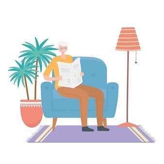 Activity seniors, mature man reading newspaper sitting on sofa illustration