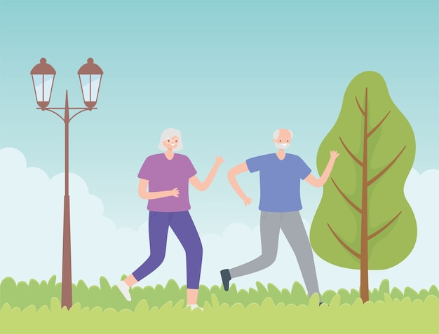 Activity seniors, old couple running sport in the park.