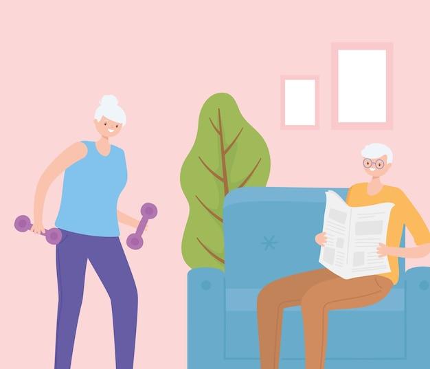 Активность пожилых людей, старик читает газету и пожилая женщина с гантелями в доме.