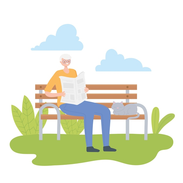 Activity seniors, old man reading newspaper in the park bench with cat illustration