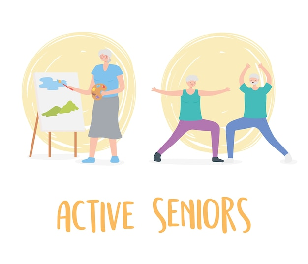 Activity seniors, older people practicing exercises and hobby activities.