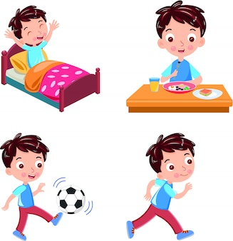 Activity wake up running ball breakfast vector