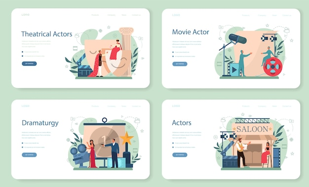 Actor and actress web banner or landing page set. idea of creative people and profession. theatrical perfomances and movie production. vector illustration