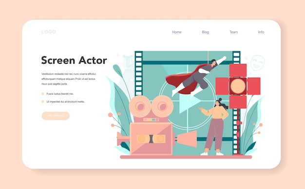 Actor and actress web banner or landing page