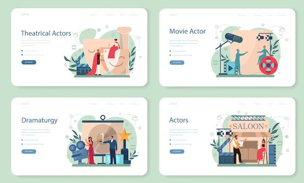 Актер и актриса веб-баннер или набор целевой страницы. идея творческих людей и профессии. театральные постановки и кинопроизводство. векторная иллюстрация