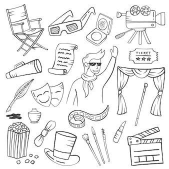 Actor or artist jobs or profession doodle hand drawn set collections with outline black and white style