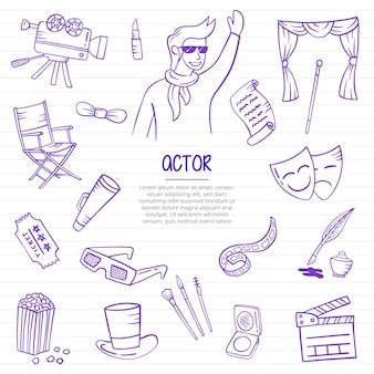 Actor job or jobs profession doodle hand drawn with outline style on paper books line vector illustration