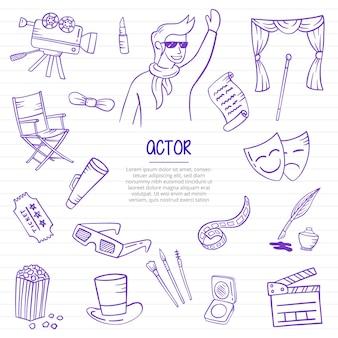 紙の本の線のベクトル図にアウトラインスタイルで描かれた俳優の仕事または仕事の職業落書き手描き