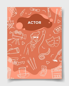 Актерские вакансии или карьерная профессия со стилем каракули для шаблона баннеров, флаеров, книг и обложек журналов, векторная иллюстрация