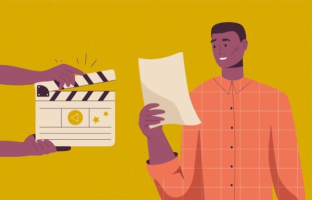 Актер репетирует и читает сценарий
