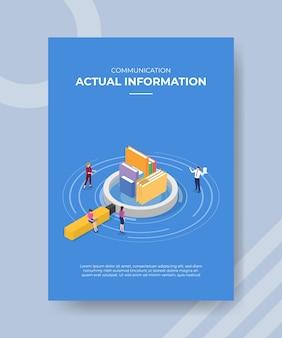 テンプレートバナーと印刷用チラシの実際の情報の概念