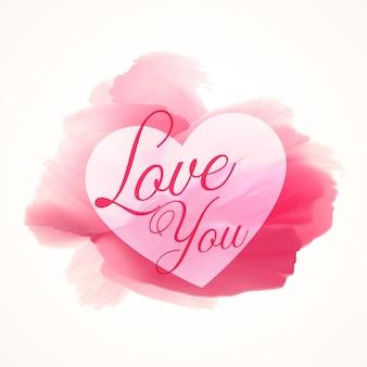 Абстрактные акварель розовая краска с формы сердца и люблю вас текст