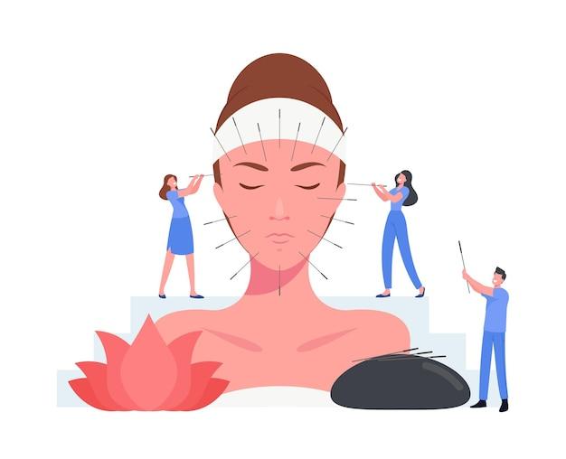 鍼治療の中国療法の概念。小さなキャラクターが巨大な女性の顔に針を注入します。ボディインジェクションポイントを備えた代替医療フォーム。病気の予防。漫画の人々のベクトル図