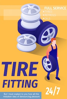 Ad banner template for tire fitting automobile shop garage