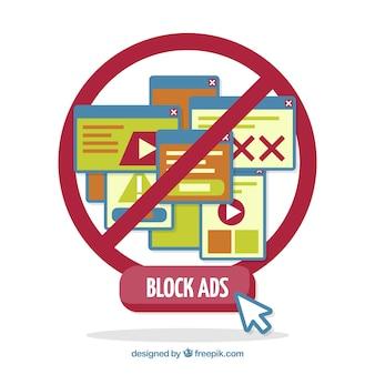 평면 디자인의 광고 블록 개념