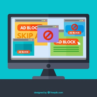 Ad block pop up concept with flat deisgn