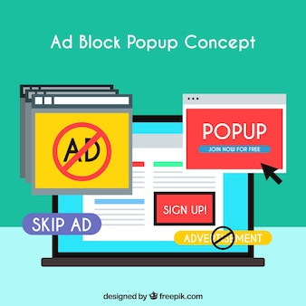 Ad block popup concept background in flat style