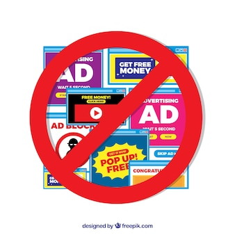Ad block popup concept in flat style
