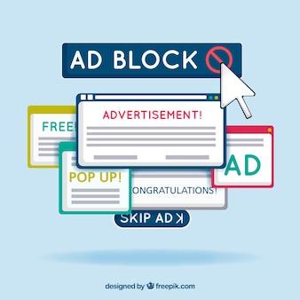 Concetto di popup del blocco pubblicitario