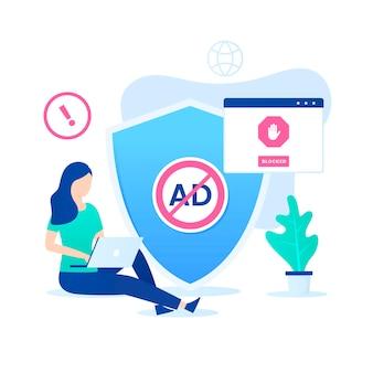 広告ブロックソフトウェアの概念。