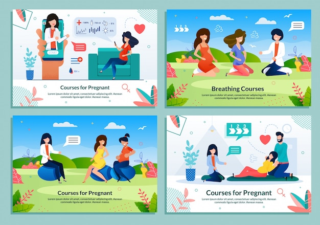 Ad flat banner set offering courses for pregnant
